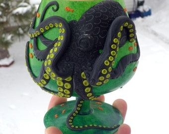 Wicked Black Octopus/Kraken Sculpted with Polymer Clay onto a Recycled Glass Candle Holder in Spring Green