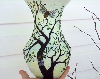 Cicadas and a Green Leaved Tree Sculpted with Polymer Clay onto a Recycled Glass Vase in Greyed Yellow