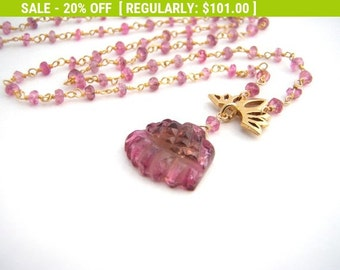 20% Off Sale Pink Tourmaline Pendant Necklace, Rosary Style, Carved Pink Tourmaline Pendant, Gold, Raspberry Pink