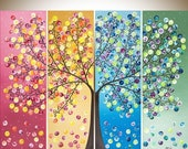 Art painting Colorful art extra large wall art acrylic Landscape painting rainbow art four season tree shabby chic home decor wall decor