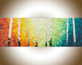 "Rainbow colour art Original oil painting Wall art wall decor painting on canvas ""Color of love"" by qiqigallery"