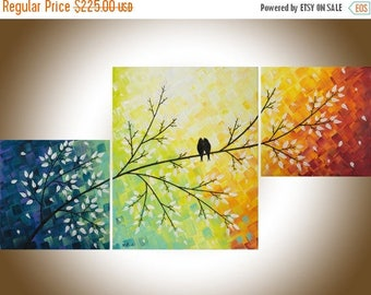 """Colorful painting Abstract art set of 3 wall art acrylic love bird painting home decor canvas art shabby chic """"Warm Winter"""" by QIQIGALLER"""