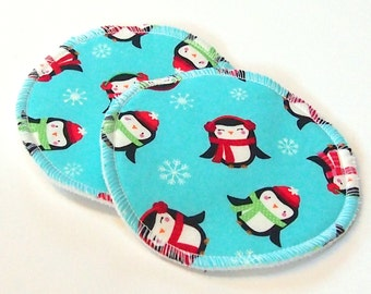 Large Reusable Nursing Pad Set in Bamboo/Organic Cotton with heavy fleece in Quilter's Cotton - Chilly Penguins