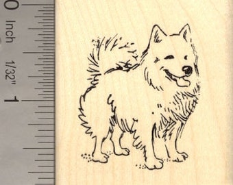American Eskimo Dog Rubber Stamp H14006 Wood Mounted