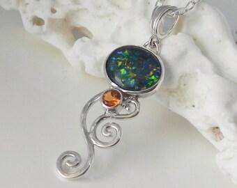 Black Opal Pendant - Genuine Opal Pendant with Gold Citrine - Australian Opal Sterling Silver Wave - Unique Gemstone Jewelry
