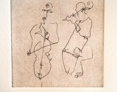 Cello Players-Blind Contour Drawing-Hand Pulled Etching