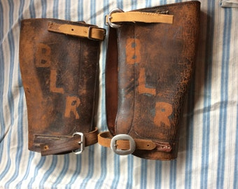 VINTAGE LEATHER GAITERS, shin guards, leg wear, costume, hipster