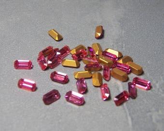 Vintage Rose Pink Faceted Octagon 8x4mm Crystal Bagette Jewels (6)