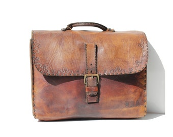 Vintage Hand tooled Large Brown Leather Bag