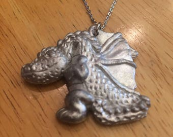 "Vintage Handmade Pewter Dragon Necklace - 18"" - Brand New NOS - 1990"
