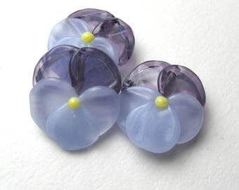 PANSY BEADS Artisan Lampwork Glass Flowers in periwinkle purple handmade supplies