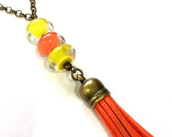 Necklace, Glass Beads and Leather Tassel, Summer Cruise Vacation Accessory, Unique Jewelry Birthday Gift For Boho College Student,