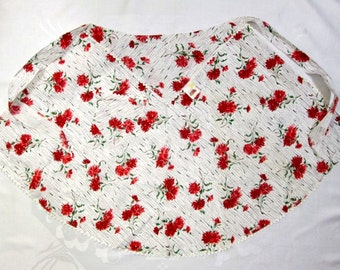 Vintage Half Apron Red White Floral Carnations Unused Mint MWT Vintage Retro Mid Century Kitchen Linens Fruit of the Loom Tag Cottage Decor