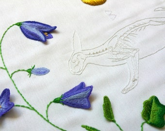 Ritual Burial: Arctic Hare, Hand Embroidery Art