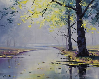TREE PAINTINGS Original Oil River scene by award winning artist Graham Gercken