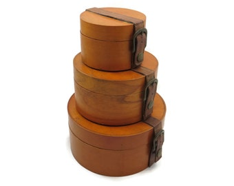 Round Box Collection - Stacking, Nesting, Set of Three, Leather Straps Buckle, Hat Boxes