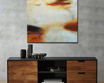 Black and white Abstract Painting Large Black&White Painting, Original Painting, square painting, White painting, ORANGE ABSTRACT PAINTING