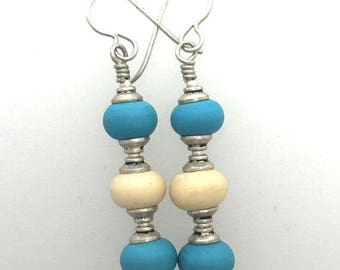 Spring Sale Time Turquoise and Ivory Glass Lamp Work and Sterling Silver Earrings
