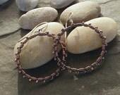 Sale-Copper Sterling Rustic Bohemian Dangle Earrings-Artisan Handmade Earrings-Hoop Earrings.