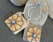 Rustic-Handmade- OOAK-Cosmos-Flower-Artisan-Earrings.