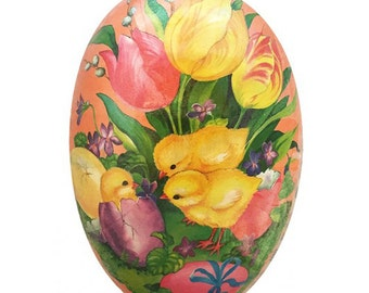 "German Paper Mache Easter Egg Box  3-1/2""  PME524P"