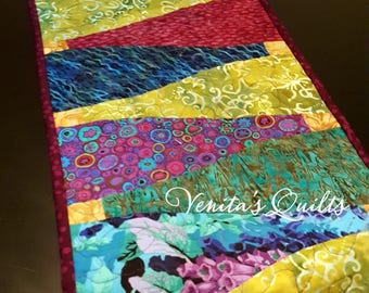 Wine Bottle Batik Table Runner