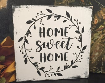 Home Sweet Home Wood Sign with Wreath - Cottage Decor - Farmhouse Decor - Lettered Sign - Hand Painted Black and White Wall Decor