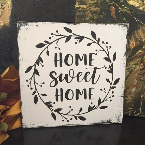 Home sweet home wood sign with wreath cottage decor - Home sweet home decorative accessories ...