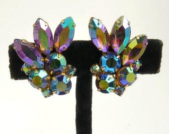 Vintage Purple Borealis Rhinestone Clip Earrings