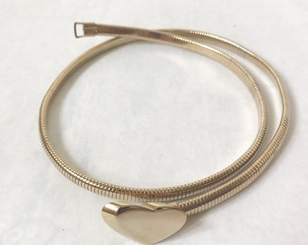 Vintage Gold  Metallic Heart Skinny Belt. Size X Small
