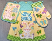 HAPPY EASTER BUNNY Double Layer Hanging Decorative Towel, Oven Mitt, and Pot Holder Set, oven door towel, for kitchen, housewarming, gifts