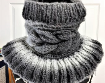 CABLED GIRGIO  Hand Knitted COWL, neck warmer, adult cowl, knit cowl, birthday gift, holiday gift, cowls