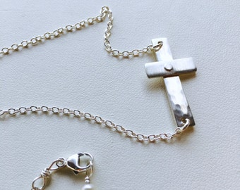 Cross Necklace, Attached Cross Necklace, Silver Cross Necklace, Gold Cross Necklace