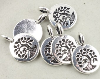 Antique Silver Charms Silver Tree of Life Charms TierraCast Bird Tree Pendant 11mm Mini Pendant Silver Jewelry Supplies Yoga Charms Woodland