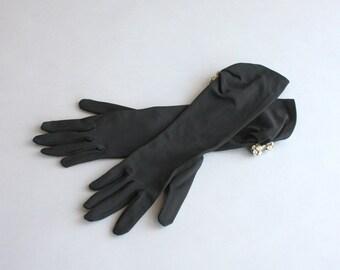 1950s Gloves / Vintage 50s Evening Gloves / Black Mid Length Rhinestone Accented Vintage Gloves