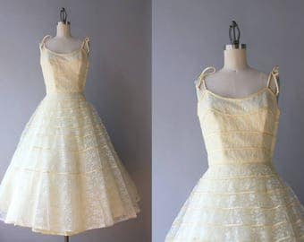 Reserved . . . Vintage 50s Dress / 1950s Lace Party Dress / 50s Yellow and White Lace Full Skirt Formal Prom Dress xxs