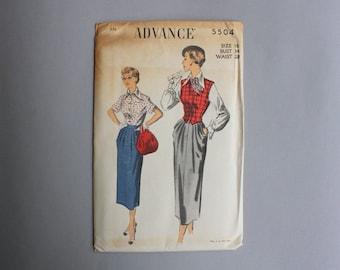 Vintage Pattern / 1950s Sewing Pattern / Uncut Factory Fold Advance Pattern Blouse Skirt Vest Hip Swag Drape 34 bust 28 waist medium