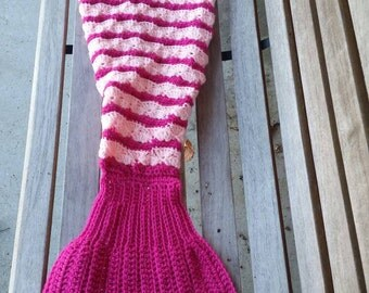 Ready to Ship Pink Mermid Tail Blanket, Sleep Sack, Sleeping Bag, Crochet Blanket, Ages 6-8, Ready to Ship