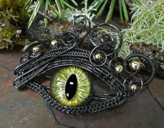 Gothic Steampunk Black and Green Eye Pendant