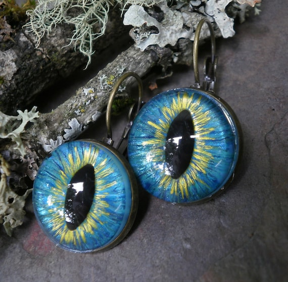 Gothic Steampunk Turquoise Blue Eye Lever Back Earrings in Antique Bronze