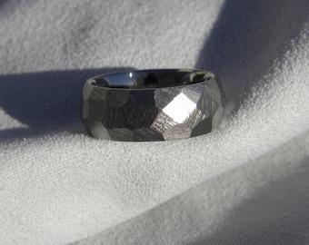 Titanium Ring, Wedding Band, 7mm, Ground Profile, Size 5, Burnished finish