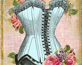 Pink Pearl Studio Corset Roses Reproduction Fabric Crazy Quilt Block Free Shipping World Wide (C1