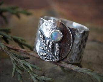 Cedar Branch Wide Band Ring in Sterling Silver with Opal Gemstone