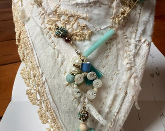 Handmade Vintage beads, pearl buttons, clay beads handmade, stitched Necklace.