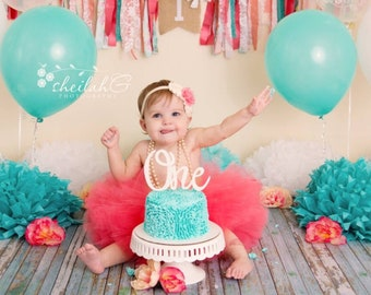 Cake Smash Tutu Birthday Outfit Coral Peach Ivory First 1st One Gold Photo Prop Newborn Toddler Photography Flower Girl Skirt 2nd 3rd 4th