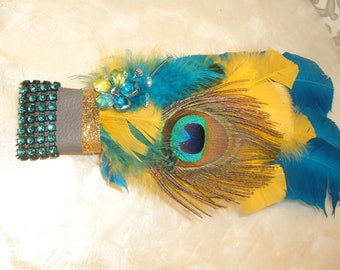 Native, Wiccan, Smudge Fan, Yellow & Turquoise, Clearing, Negative Energy Removal, Spiritual, Turkey Feather, Ribbon, Handmade Original Gift
