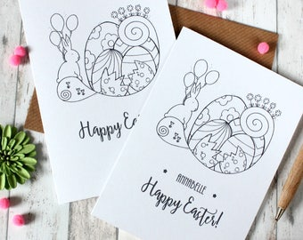 Personalised Easter Card. Easter Cards. Fun Easter Card. Easter Card. Easter. Happy Easter Cards. Black and White. Illustrated Cards. Easter