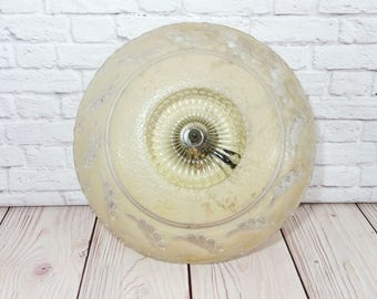 Vintage Porcelain Light Fixture with Pale Yellow Glass Ceiling Light Globe