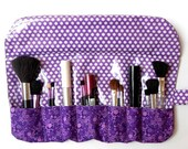 Travel Makeup Brush Roll Up, Purple Cosmetic Storage Case, Holder for Brushes, Bridesmaid Gift, Travel Makeup Brushes Carrier or Pouch