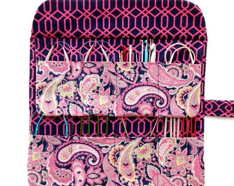 Pink Paisley Circular Needle Case, 8 Pockets for Holding Crochet Hooks, Double Pointed Needle DPN Roll, Makeup Brush Storage Organizer